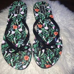 ♠️Kate Spade black floral bow flip flop sandals♠️